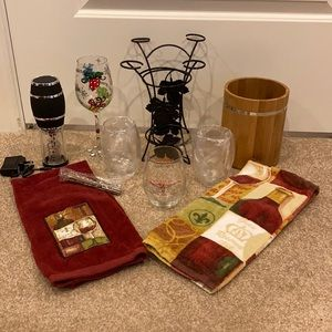New Wine glass, holder, and towel lot +